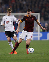 Calcio, Champions League, Gruppo E: Roma vs Bayer Leverkusen. Roma, stadio Olimpico, 4 novembre 2015.<br /> Roma's Edin Dzeko, right, is challenged by Bayer Leverkusen's Christoph Kramer during a Champions League, Group E football match between Roma and Bayer Leverkusen, at Rome's Olympic stadium, 4 November 2015.<br /> UPDATE IMAGES PRESS/Isabella Bonotto