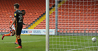 Blackpool's Curtis Tilt scoring his side's third goal <br /> <br /> Photographer Rachel Holborn/CameraSport<br /> <br /> The EFL Sky Bet League One - Blackpool v Bradford City - Saturday September 8th 2018 - Bloomfield Road - Blackpool<br /> <br /> World Copyright &copy; 2018 CameraSport. All rights reserved. 43 Linden Ave. Countesthorpe. Leicester. England. LE8 5PG - Tel: +44 (0) 116 277 4147 - admin@camerasport.com - www.camerasport.com