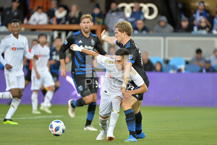 San Jose, CA - Saturday June 09, 2018: Florian Jungwirth, Eduard Atuesta during a Major League Soccer (MLS) match between the San Jose Earthquakes and Los Angeles Football Club at Avaya Stadium.