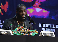 LOS ANGELES - DECEMBER 13:  Deontay Wilder at the Fox Sports Deontay Wilder vs Tyson Fury II Los Angeles Press Conference on January 13, 2020 at The Novo by Microsoft at L.A. Live in Los Angeles, California. (Photo by Scott Kirkland/Fox Sports/PictureGroup)
