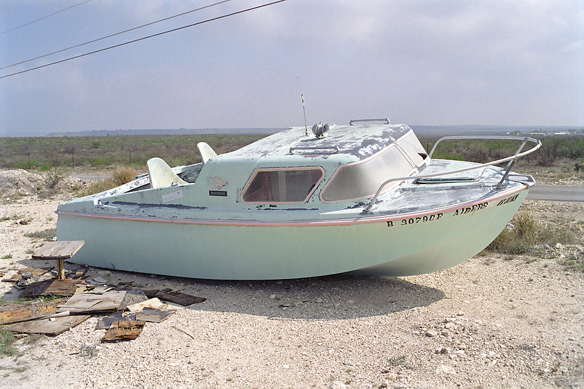Abandoned old pleasure boat, just outside of Del Rio Texas