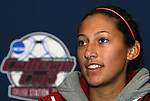 05 December 2009: Junior forward Christen Press. The Stanford University Cardinal held a press conference at the Aggie Soccer Complex in College Station, Texas on the day before playing the University of North Carolina Tar Heels in the NCAA Division I Women's College Cup championship game.
