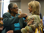 Former Sen. Bernice Mathews, left, hugs Sen. Barbara Cegavske, R-Las Vegas, following a ceremony inducting Mathews into the Nevada Senate Hall of Fame at the Legislative Building in Carson City, Nev., on Wednesday, April 17, 2013. .Photo by Cathleen Allison