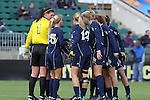 05 December 2010: Notre Dame's starters huddle before the start of the game. The Notre Dame University Fighting Irish defeated the Stanford University Cardinal 1-0 at WakeMed Stadium in Cary, North Carolina in the 2010 NCAA Women's College Cup Championship Game.