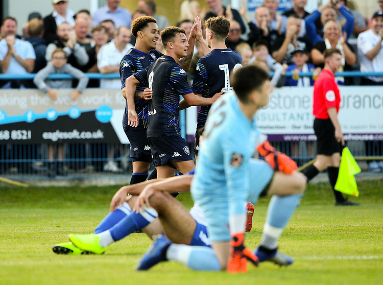 Leeds United's Helder Costa celebrates after scoring his side's first goal  <br /> <br /> Photographer Alex Dodd/CameraSport<br /> <br /> Football Pre-Season Friendly - Guiseley v Leeds United - Thursday July 11th 2019 - Nethermoor Park - Guiseley<br /> <br /> World Copyright © 2019 CameraSport. All rights reserved. 43 Linden Ave. Countesthorpe. Leicester. England. LE8 5PG - Tel: +44 (0) 116 277 4147 - admin@camerasport.com - www.camerasport.com