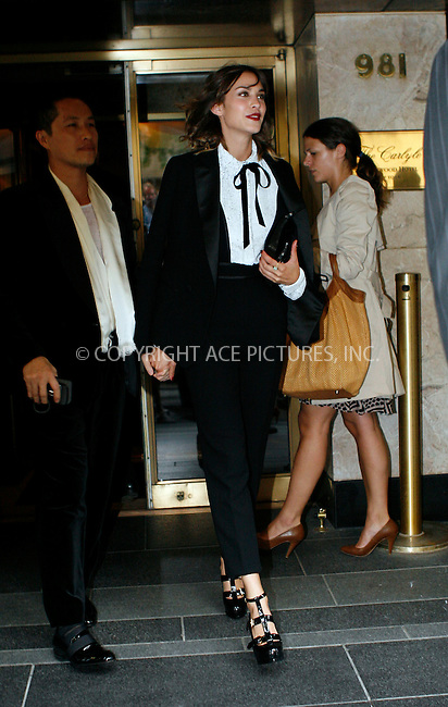 WWW.ACEPIXS.COM . . . . .  ....May 3 2010, New York City....Alexa Chung leaving a hotel on May 3 2010 in New York City....Please byline: NANCY RIVERA- ACEPIXS.COM.... *** ***..Ace Pictures, Inc:  ..Tel: 646 769 0430..e-mail: info@acepixs.com..web: http://www.acepixs.com
