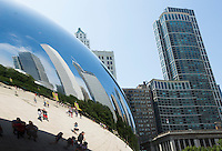 26 JUN 2014 - CHICAGO, USA - The Cloud Gate, aka the Bean, a highly polished metal sculpture by Anish Kapoor standing in Millennium Park in Chicago in the USA (PHOTO COPYRIGHT © 2014 NIGEL FARROW, ALL RIGHTS RESERVED)