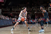 STANFORD, CA -- February 13, 2019. The Stanford Cardinal men's basketball team defeats the University of Southern California Trojans 79-76 at Maples Pavilion.