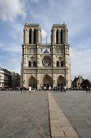Western façade, Notre Dame de Paris, 1163 - 1345, initiated by the bishop Maurice de Sully, Ile de la Cité, Paris, France. Picture by Manuel Cohen