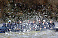 2005 Varsity Boat Race - Pre race fixtures - Putney, London., ENGLAND; Oxford  Rowing through the rough water in their fixture against a USA/NED composite crew. Left to right cox Acer Nethercott, Andy Triggs-Hodge, Jason Flickinger, Mike Blomquist, Peter Reed, Joe von Maltzhen, Christopher Liwski, barney Williams and Robin Bourne-Taylor..Photo  Peter Spurrier. .email images@intersport-images....[Mandatory Credit Peter Spurrier/ Intersport Images] Varsity:Boat Race Rowing Course: River Thames, Championship course, Putney to Mortlake 4.25 Miles Rough, Choppy, Water, Conditions.