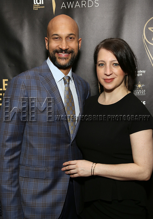 Keegan-Michael Key, Elisa Pugliese  attends 32nd Annual Lucille Lortel Awards at NYU Skirball Center on May 7, 2017 in New York City.