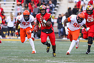 College Park, MD - October 27, 2018: Maryland Terrapins quarterback Kasim Hill (11) during the game between Illinois and Maryland at  Capital One Field at Maryland Stadium in College Park, MD.  (Photo by Elliott Brown/Media Images International)