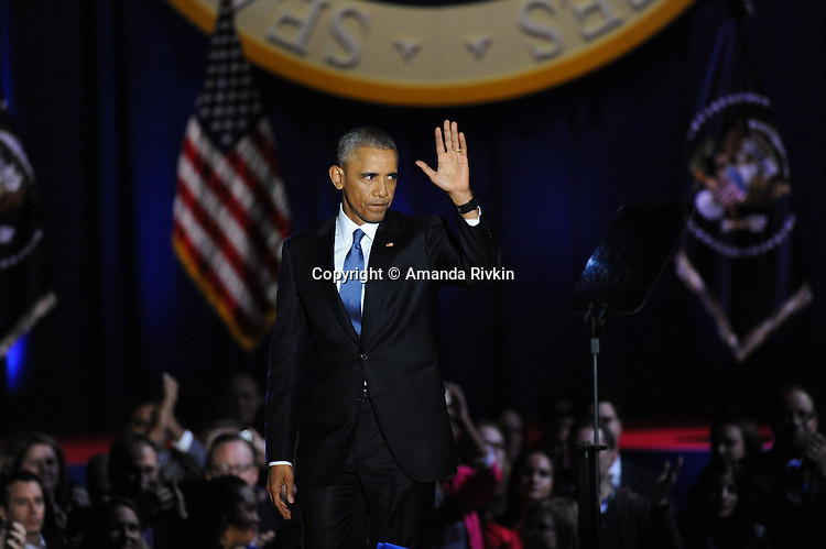 President Barack Obama after he gave his farewell address to a crowd of thousands and the nation during his farewell address at McCormick Place in Chicago, Illinois on January 10, 2017.