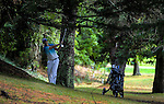 Jonathan Cane plays out of the trees on the 15th fairway. Day one of the Jennian Homes Charles Tour Lawnmaster Classic Manawatu Open at Manawatu Golf Club, Palmerston North, New Zealand on Friday, 18 March 2016. Photo: Dave Lintott / lintottphoto.co.nz