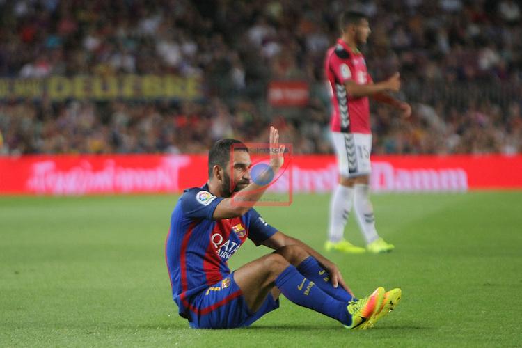 League Santander 2016/2017. Game: 3.<br /> FC Barcelona vs Deportivo Alaves: 1-2.<br /> Arda Turan.