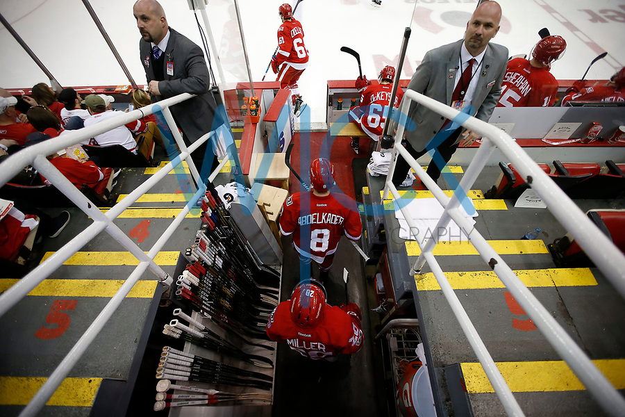 Justin Abdelkader #8 of the Detroit Red Wings takes the ice for the final time in the third period against the New Jersey Devils at Joe Louis Arena in Detroit, Michigan on Sunday April 9, 2017. (Photo by Jared Wickerham/The Players Tribune)