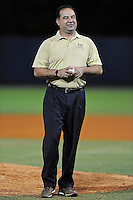 2 March 2012:  FIU Professor Jose Almirall, of the International Forensic Research Institute, throws out the first pitch at FIU's home opener as the FIU Golden Panthers defeated the Brown University Bears, 6-5, at University Park Stadium in Miami, Florida.