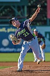 1 September 2014: Vermont Lake Monsters pitcher Jerad Grundy on the mound against the Tri-City ValleyCats at Centennial Field in Burlington, Vermont. The ValleyCats defeated the Lake Monsters 3-2 in NY Penn League action. Mandatory Credit: Ed Wolfstein Photo *** RAW Image File Available ****