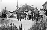 Mississippi State Troopers, escorting the 2nd Meredith March Against Fear as it approaches Philadelphia, Mississippi photographed by Jim Peppler for essay published in The Southern Courier on June 25, 1966. Copyright Jim Peppler/1966.   This and over 10,000 other images are part of the Jim Peppler Collection at The Alabama Department of Archives and History:  http://digital.archives.alabama.gov/cdm4/peppler.php