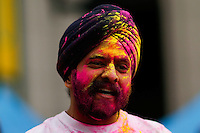 EXCHANGE PLACE, NJ - MAY 7 : A man takes part during Holy hai celebrations on May 7, 2016 in Exchange Place, New Jersey. Thousands of people of all ages attend Holi hai festivities also known as the festival of colors or the festival of sharing love, by Indian culture.  Photo by VIEWpress