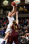 SIOUX FALLS, SD - FEBRUARY 28:  Sam Knecht #50 from the University of Sioux Falls shoots over Alison Hughes #14 from Minnesota Crookston during their NSIC Tournament Sunday at the Sanford Pentagon. (Photo by Dave Eggen/Inertia)