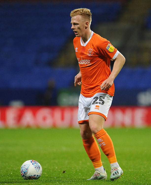 Blackpool's Callum Guy<br /> <br /> Photographer Kevin Barnes/CameraSport<br /> <br /> The EFL Sky Bet League One - Bolton Wanderers v Blackpool - Monday 7th October 2019 - University of Bolton Stadium - Bolton<br /> <br /> World Copyright © 2019 CameraSport. All rights reserved. 43 Linden Ave. Countesthorpe. Leicester. England. LE8 5PG - Tel: +44 (0) 116 277 4147 - admin@camerasport.com - www.camerasport.com