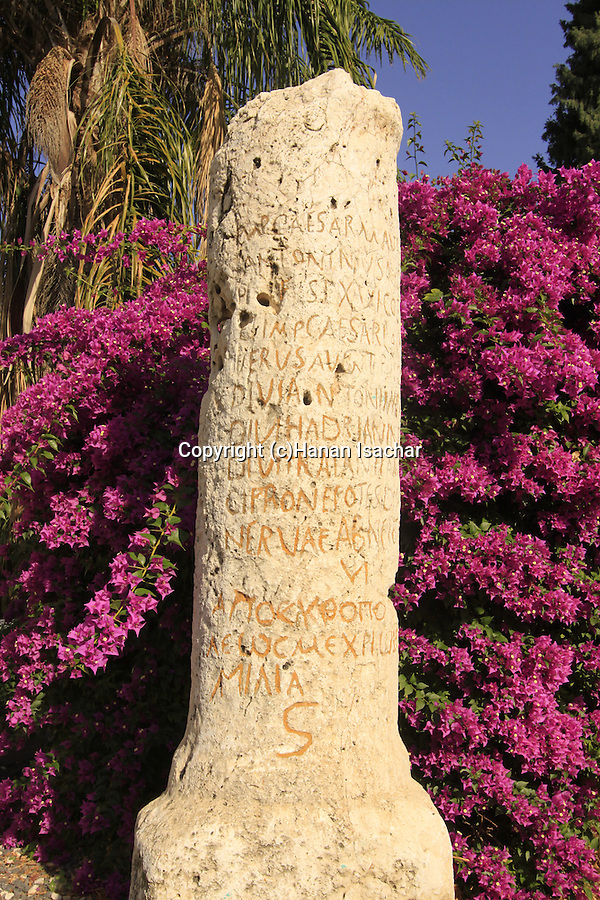 Israel, Beth Shean Valley, a Roman milestone in Kibbutz Tirat Zvi