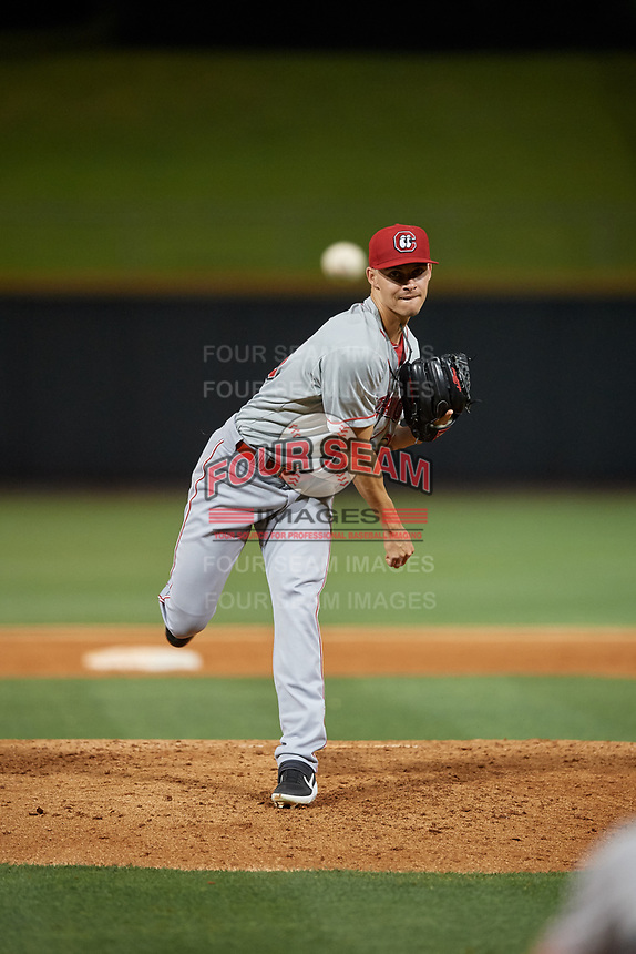 Chattanooga Lookouts starting pitcher Jordan Johnson (26) during a Southern League game against the Birmingham Barons on May 2, 2019 at Regions Field in Birmingham, Alabama.  Birmingham defeated Chattanooga 4-2.  (Mike Janes/Four Seam Images)