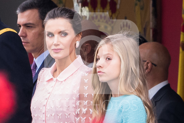 Queen Letizia of Spain and Infanta Sofia during the Military parade because of the Spanish National Holiday. October 12, 2019.. (ALTERPHOTOS/ Francis Gonzalez)