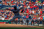 8 July 2017: Atlanta Braves starting pitcher Julio Teheran on the mound against the Washington Nationals at Nationals Park in Washington, DC. The Braves shut out the Nationals 13-0 to take the third game of their 4-game series. Mandatory Credit: Ed Wolfstein Photo *** RAW (NEF) Image File Available ***