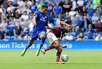 Aston Villa's Neil Taylor battles with Cardiff City's Nathaniel Mendez-Laing<br /> <br /> Photographer Ian Cook/CameraSport<br /> <br /> The EFL Sky Bet Championship - Cardiff City v Aston Villa - Saturday August 12th 2017 - Cardiff City Stadium - Cardiff<br /> <br /> World Copyright &copy; 2017 CameraSport. All rights reserved. 43 Linden Ave. Countesthorpe. Leicester. England. LE8 5PG - Tel: +44 (0) 116 277 4147 - admin@camerasport.com - www.camerasport.com
