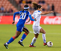 HOUSTON, TX - JANUARY 31: Raquel Rodriguez #11 of Costa Rica dribbles during a game between Haiti and Costa Rica at BBVA Stadium on January 31, 2020 in Houston, Texas.