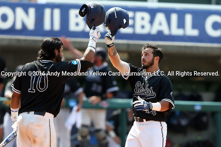 04 June 2016: Nova Southeastern's Kevin Suarez (right) celebrates his home run with Andres Visbal (10). The Nova Southeastern University Sharks played the Millersville University Marauders in Game 14 of the 2016 NCAA Division II College World Series  at Coleman Field at the USA Baseball National Training Complex in Cary, North Carolina. Nova Southeastern won the game 8-6 and clinched the NCAA Division II Baseball Championship.