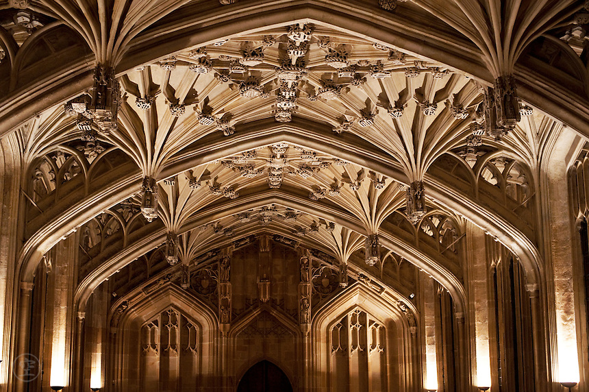 The ceiling at Oxford University's Divinity School, with lierne vaulting in the Perpendicular style.