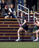 University at Albany attacker Kathleen Lennon (23) advances the ball. University at Albany defeated Boston College, 11-10, at Newton Campus Field, on March 30, 2011.