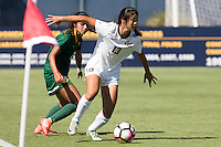 BERKELEY, CA - Sept 16th, 2016: Cal's Kayla Fong (13) looks to pass the ball. Cal Women's Soccer played the University of San Francisco on Goldman Field at Edwards Stadium.