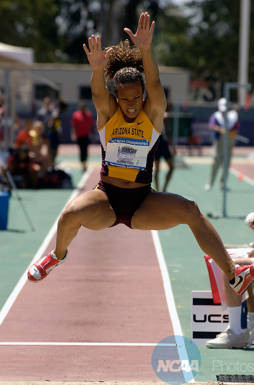 08 JUNE 2007: Jacquelyn Johnson of Arizona State competes in women's heptathalon long jump competition during the women's Heptathlon during Division I Track and Field Championship held at the Alex G. Spanos Sports Complex in Sacramento, CA. Johnson won the event with a jump of 5.91 meters. Rich Clarkson/NCAA Photos