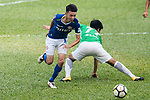 Lok Yin Lai of Rangers (L) fights for the ball with Sing Yiu Leung of Wofoo Tai Po (R) during the week three Premier League match between BC Rangers and Wofoo Tai Po at Sham Shui Po Sports Ground on September 17, 2017 in Hong Kong, China. Photo by Marcio Rodrigo Machado / Power Sport Images