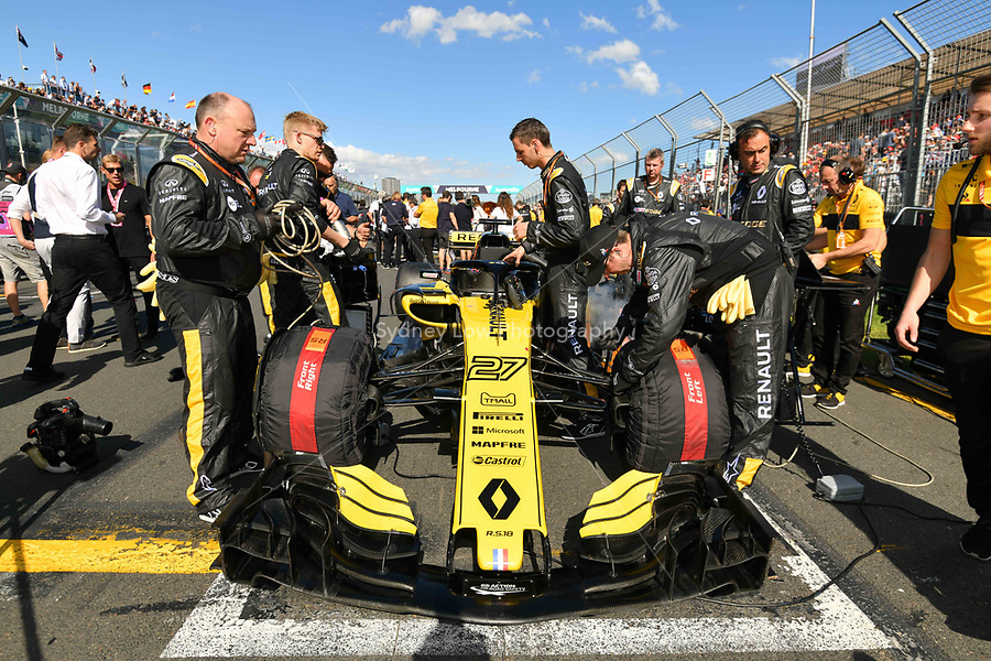 March 25, 2018: The car of Nico Hulkenberg (DEU) #27 from the Renault Sport F1 team on the grid prior to the start of the 2018 Australian Formula One Grand Prix at Albert Park, Melbourne, Australia. Photo Sydney Low