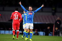 Dries Mertens of Napoli celebrates after scoring his side third goal during the Uefa Champions League 2018/2019 Group C football match betweenSSC Napoli and Crvena Zvezda at San Paolo stadium, Napoli, November, 28, 2018 <br /> Foto Andrea Staccioli / Insidefoto