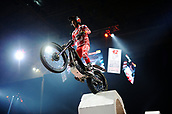 3rd February 2019, Palau Sant Jordi, Barcelona, Spain; FIM X Trial World Championships; Jeroni Fajardo of the Gas Gas Team greets the fans during the Trial Barcelona