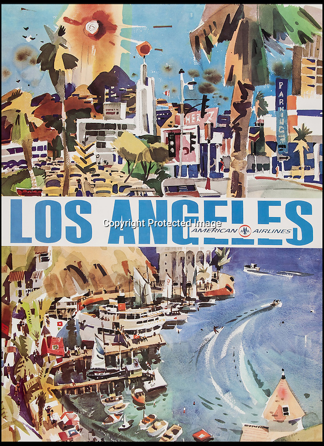 BNPS.co.uk (01202 558833)<br /> Pic: Bloomsbury/BNPS<br /> <br /> ***Please Use Full Byline***<br /> <br /> Poster for LA. <br /> <br /> Scarce vintage travel posters that hark back to the halcyon days of travel across the globe in the 1930s are tipped to sell for £50,000.<br /> <br /> The fine collection of over 100 works of art were used to advertise dream holiday destinations in far-flung places and the luxurious ways of reaching them.<br /> <br /> Most of the advertising posters date back to the 1920s and 1930s and are Art Deco in style.<br /> <br /> They are a celebration of the various modes of transport used by wealthy tourists in the days before air travel and package holidays.<br /> <br /> They are being sold at London auctioneers Bloomsbury next week.