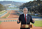 Chilean President Sebastian Pinera speaks to the media in front of ANZAC Parade and Parliament House in Canberra, Tuesday September 11th 2012. AFP PHOTO / Mark GRAHAM
