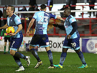 Adebayo Akinfenwa of Wycombe Wanderers celebrates scoring his first goal <br /> during the Sky Bet League 2 match between Accrington Stanley and Wycombe Wanderers at the wham stadium, Accrington, England on 28 February 2017. Photo by Tony  KIPAX.
