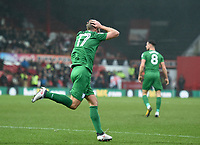 Preston's Tommy Spurr after his goal is disallowed <br /> <br /> Photographer Jonathan Hobley/CameraSport<br /> <br /> The EFL Sky Bet Championship - Brentford v Preston North End - Saturday 10th February 2018 - Griffin Park - Brentford<br /> <br /> World Copyright &copy; 2018 CameraSport. All rights reserved. 43 Linden Ave. Countesthorpe. Leicester. England. LE8 5PG - Tel: +44 (0) 116 277 4147 - admin@camerasport.com - www.camerasport.com