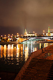 RUSSIA, Moscow. A view of Mosow River at night.