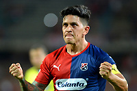 MEDELLÍN-COLOMBIA, 10-10-2019: Germán Ezequiel Cano de Deportivo Independiente Medellín celebra el tercer gol que anotó a Cúcuta Deportivo, durante partido de la fecha 16 entre Deportivo Independiente Medellín y Cúcuta Deportivo, por la Liga Águila II 2019, en el estadio Atanasio Girardot de la ciudad de Medellín. / German Ezequiel Cano of Deportivo Independiente Medellin celebrates his third scored goal to Cúcuta Deportivo, during a match for the 16th date between Deportivo Independiente Medellin and Cucuta Deportivo, for the Aguila Leguaje II 2019 at the Atanasio Girardot stadium in Medellin city. Photos: VizzorImage  / León Monsalve / Cont.