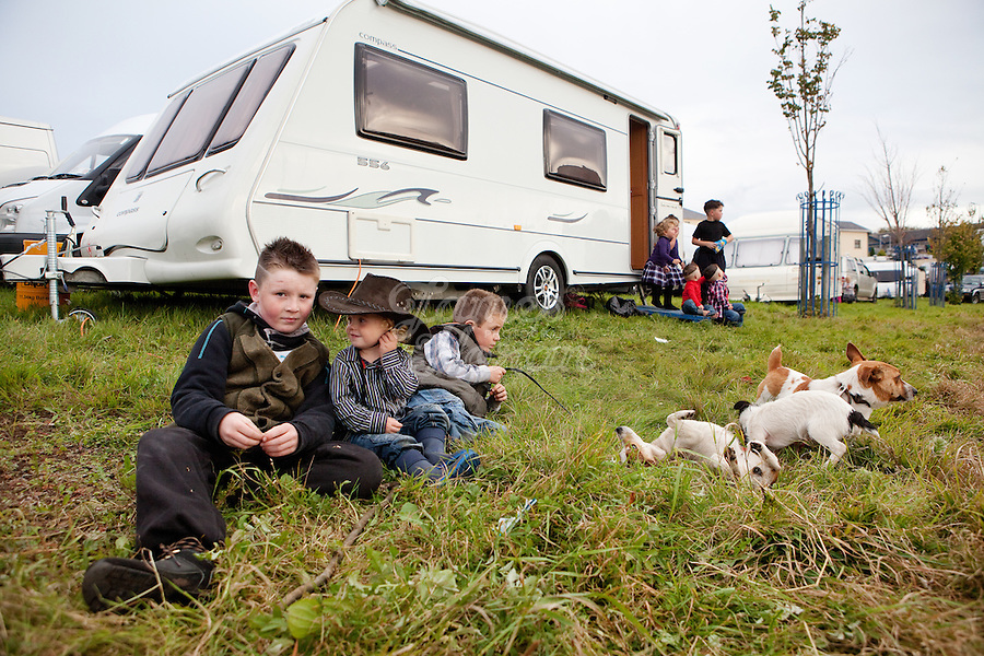 2/10/2010. Travelers Danny 10, Connie 9 and Mike O Donoghue 2 from Limerick are pictured at the Ballinasloe Horse Fair, Ballinasloe County Galway, Ireland. Picture James Horan