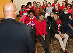 WATERBURY , CT-011519JS10- Members of Girls Inc., look on as Monroe Webster Aide to Waterbury Mayor Neil M. O'Leary, welcomes them to City Hall on Tuesday for the Girls, Inc's 155th anniversary kick-off. Girls inc., will celebrate with an open ouse on January 30, 2019 from 4 p.m. to 7 p.m. with a dedication of the gym in honor of longtime board member and supporter Nancy Camp. <br /> Jim Shannon Republican American