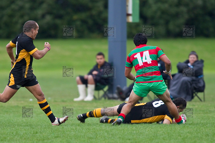 Joseph Faliu dives over to score Bombay's second try. Counties Manukau Premier Club Rugby game between Waiuku and Bombay, played at Waiuku on Saturday July 5th 2010. Waiuku won 59 - 14 after trailing 12 - 14 at halftme.